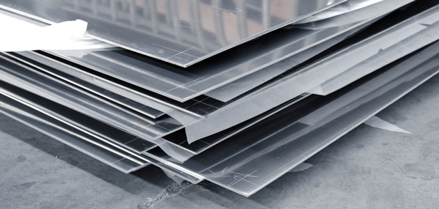 Stack of solid steel aluminum plates 630