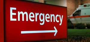 Emergency sign with arrow