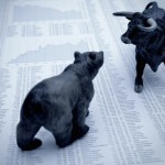 Stock market report with bull and bear 630