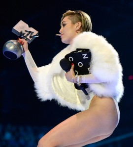 Miley Cyrus 270x300 Miley, Miley, Miley ... Cyrus Smokes a Joint on Stage at MTVs EMAs