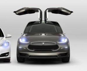 The Falcon Wing rear doors of the Tesla Model X