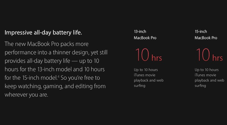 new Macbook Pro battery life