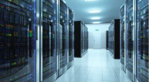 Image of a well-lit data center