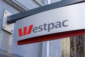 westpac (WBK) logo out front of a building