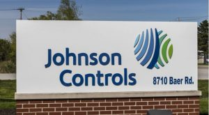 Johnson Controls (JCI) logo on a sign