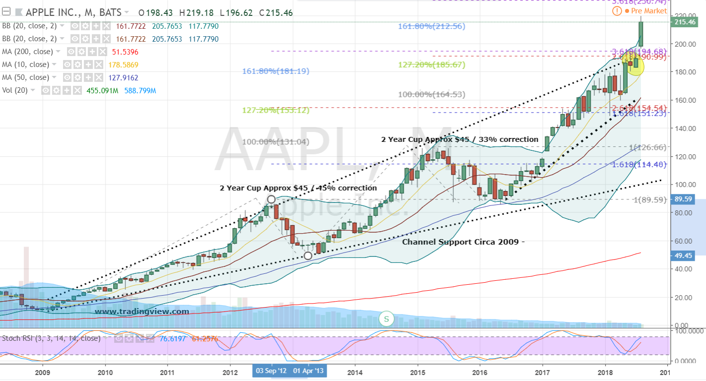 apple aapl chart investorplace monthly started based getting party