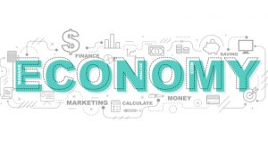 "the word ""economy"" surrounded by several different images related to money"