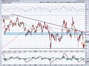 short term chart of Tesla stock