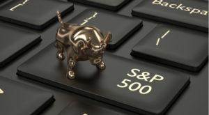 "bull figure on a keyboard key that says ""s&p 500"""