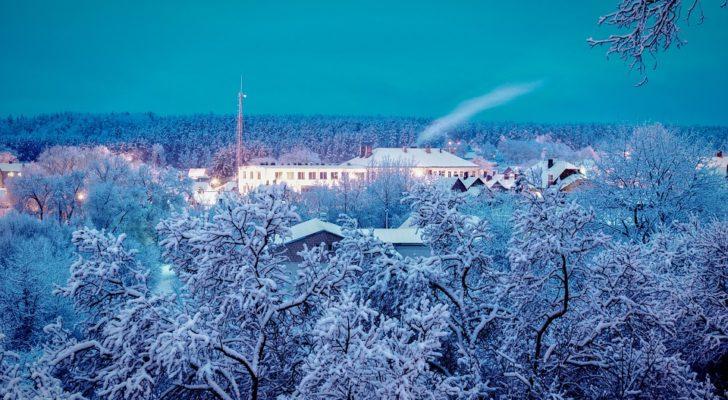 Blue Sky Winter Cold December White Snow January