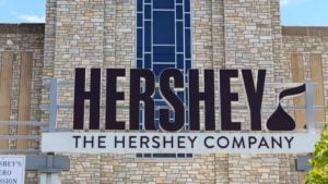 The entrance to the Hershey (HSY) factory in downtown Hershey, Pennsylvania.
