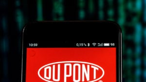 The Dupont de Nemours logo is displayed on a smartphone screen.