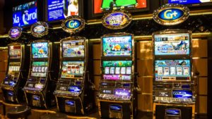 image of slot machines in a casino. cheap stocks
