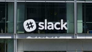 Slack (WORK) logo on a window.