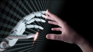 artificial intelligence mark stok robot hand with human hand