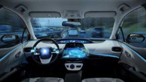 Image of the Cockpit of futuristic autonomous car
