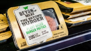 Beyond Meat (BYND) Burger packages available for purchase in a Whole Foods store in San Francisco bay area