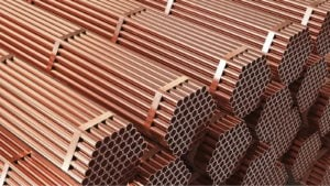 Stacks of copper tubing