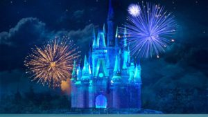 An illustration of the magical kingdom castle at night with fireworks behind it