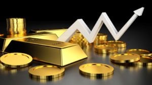 an arrow pointing up surrounded by precious metals