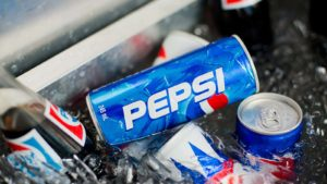 Cans of PepsiCo's (PEP) Pepsi soda are in a bucket of ice.