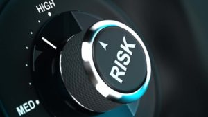 Button with the word risk pointing between medium and high level, 3D render suitable for risk management or decision-making process situation. represents risk tolerance