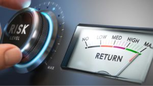 """a person turns a dial labeled """"RISK"""" higher as a meter measuring """"Return"""" maxes out"""