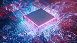 AI. Circuit board. Technology background. Central Computer Processors CPU concept. Motherboard digital chip. Tech science background. Integrated communication processor. 3D illustration representing semiconductor stocks