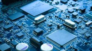 Close-up electronic circuit board. technology style concept. representing semiconductor stocks