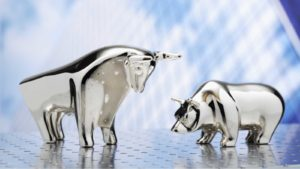silver bear and bull representing silver stocks
