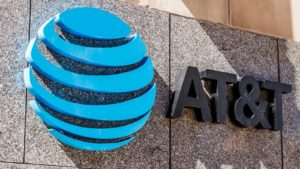 AT&T logo (T stock) representing communications stocks