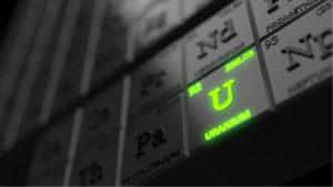 periodic table concept with black cubes. uranium stocks