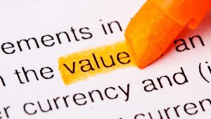the word value highlighted in orange to represent value stocks
