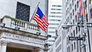 Image of the American flag on the NYSE on Wall Street