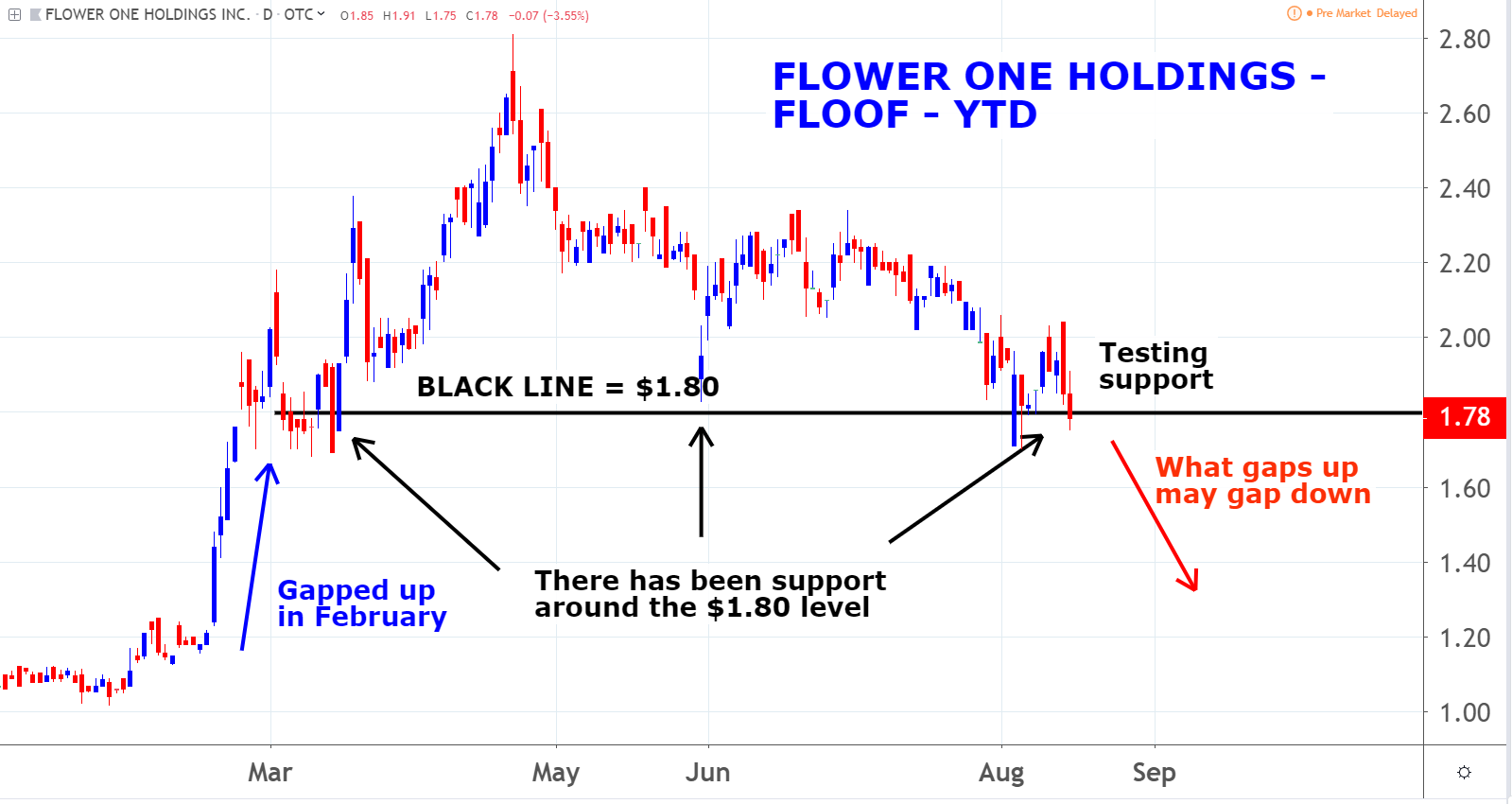 Flower One Holdings Inc (FLOOF) marijuana penny stocks
