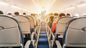 stock image of the interior of a passenger aircraft