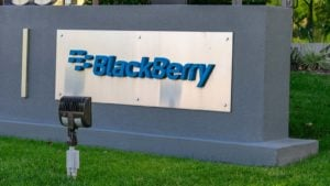 A BlackBerry (BB) sign out front of a corporate office in Silicon Valley, California.