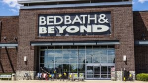 The front view of a Bed Bath & Beyond (BBBY) retail location in Indianapolis, Indiana.