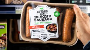 a package of Beyond Meat vegan sausages