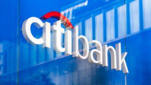 citibank (C stock) sign on a window