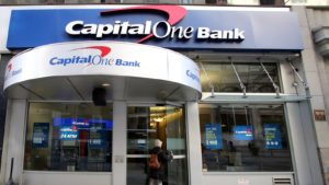 A street view of a Capital One (COF) bank location in New York City.