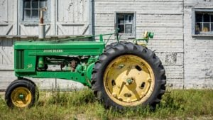 a green John Deere tractor