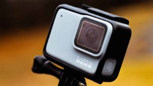 image of a white GoPro (GPRO) branded camera