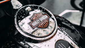 Harley-Davidson (HOG) insignia on motorcycle in the rain