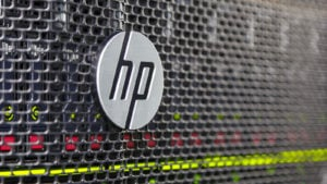 Image of the HP (HPQ) logo on a mesh computer case