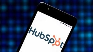 Hubspot (HUBS) logo displayed on a mobile phone