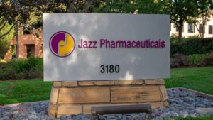 Image of the Jazz Pharmaceuticals logo on a sign