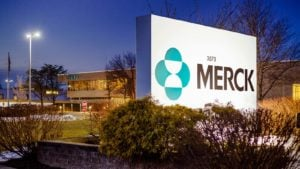 Merck (MRK) logo outside of corporate building