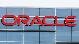 The Oracle (ORCL) sign hangs on an Oracle office in Deerfield, Illinois.