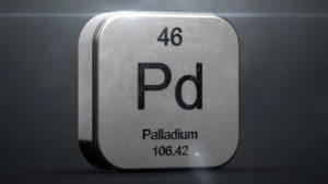 The periodic table shows element 46, Palladium.